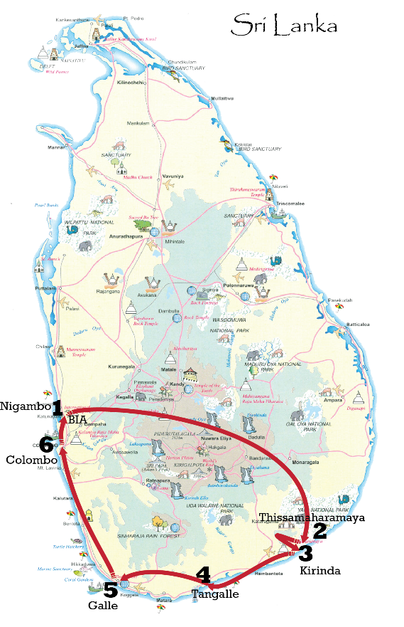Sri Lanka cultural and heritage tour gold package map