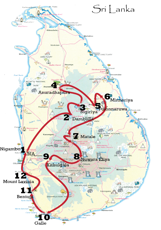 Sri Lanka cultural and heritage Platinum tour map