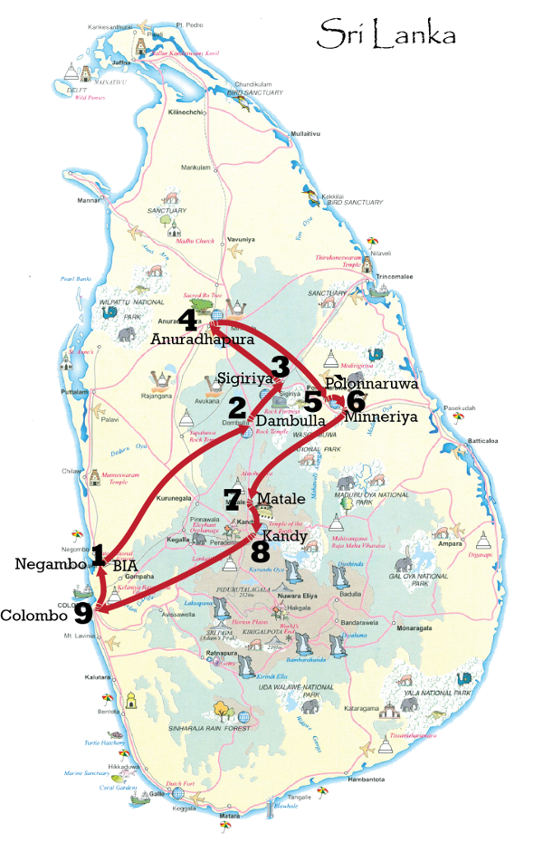 Sri Lanka cultural and heritage tour map