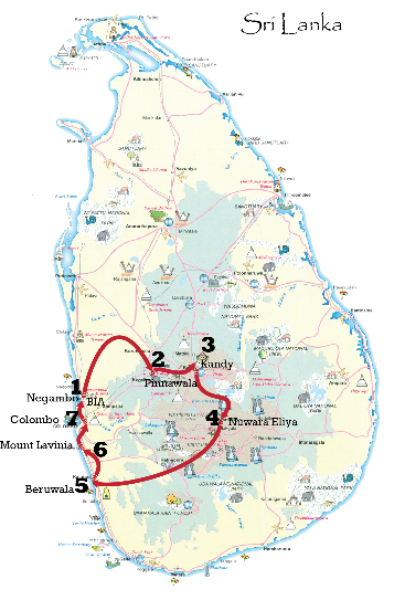 Sri Lanka leisure tour gold package map
