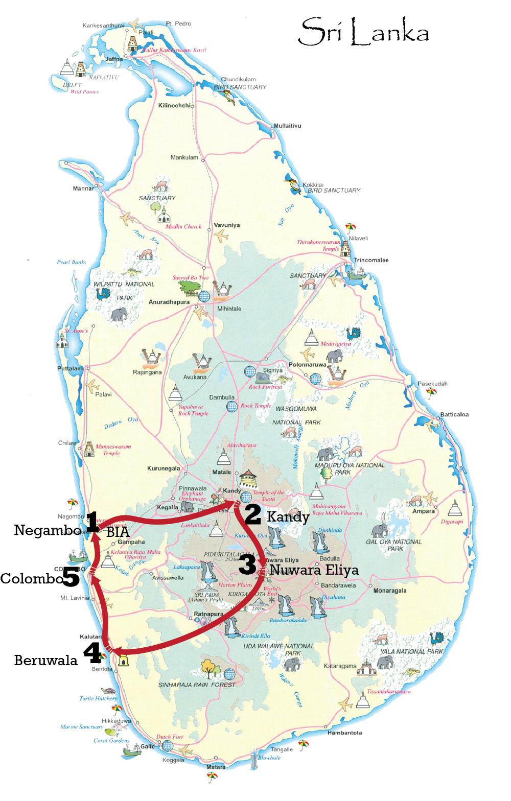 Sri Lanka leisure tour map - silver package
